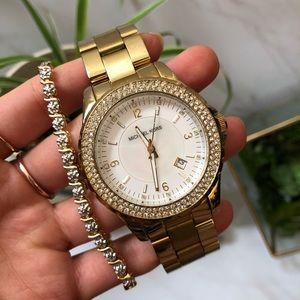 Michael Kors Madison Gold Tone Glitz Watch MK5258